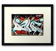 Abstract and Colorful Graffiti on the textured wall Framed Print