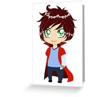 Guy In Blue Clothes Wearing Red Cape Greeting Card