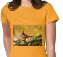 Startled Red Cardinal Womens Fitted T-Shirt