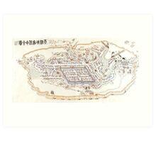 1900 Map of Tianjin (Tientsin) Art Print