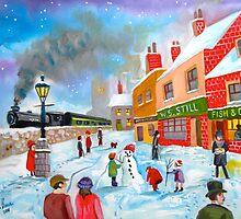 Winter train townscape original oil painting Gordon Bruce art by gordonbruce