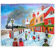 Winter train townscape original oil painting Gordon Bruce art Poster