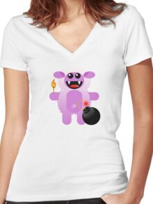 SHEEP 4 (Cute pet has a bomb and its alight!) Women's Fitted V-Neck T-Shirt
