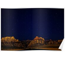 Night sky and mountains Poster