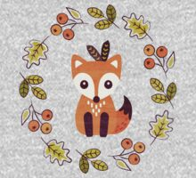 Little Fox with Autumn Berries One Piece - Long Sleeve