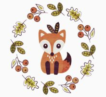 Little Fox with Autumn Berries Kids Tee