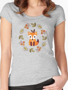 Little Fox with Autumn Berries Women's Fitted Scoop T-Shirt
