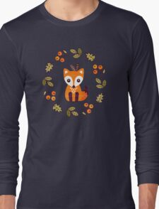Little Fox with Autumn Berries Long Sleeve T-Shirt