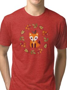 Little Fox with Autumn Berries Tri-blend T-Shirt