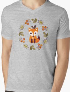 Little Fox with Autumn Berries Mens V-Neck T-Shirt