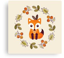 Little Fox with Autumn Berries Canvas Print