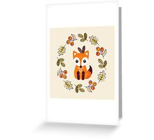 Little Fox with Autumn Berries Greeting Card