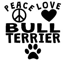 Peace Love Bull Terrier Photographic Print