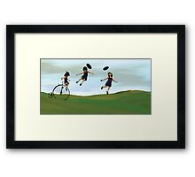 Girl on a Penny Farthing Framed Print