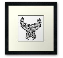 Vintage owl tattoo style. Framed Print