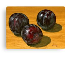 basking black plums Canvas Print
