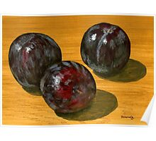 basking black plums Poster