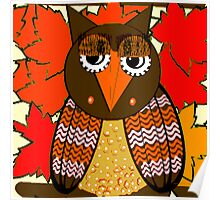 AUTUMN LEAVES AND MR. OWL Poster