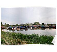 Narrowboats at Barton Marina Poster