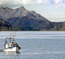 Seascape, Fishing Vessel, DE35 Tamaralyn, Cullin mountains, Skye  by Hugh McKean