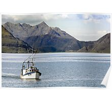 Seascape, Fishing Vessel, DE35 Tamaralyn, Cullin mountains, Skye  Poster