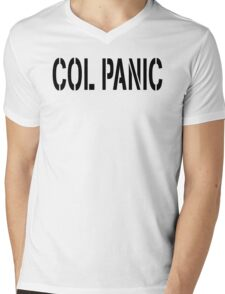 COL PANIC - Punny Black on White Design for Unix/Linux Geeks Mens V-Neck T-Shirt