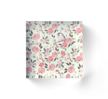 Watercolor floral background with a cute bird 2 Acrylic Block