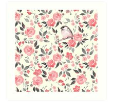 Watercolor floral background with a cute bird 2 Art Print