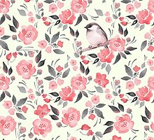 Watercolor floral background with a cute bird 2 by Gribanessa