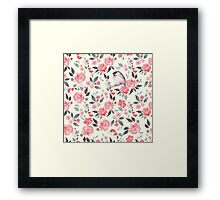 Watercolor floral background with a cute bird 2 Framed Print