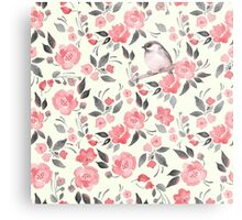 Watercolor floral background with a cute bird 2 Metal Print