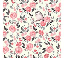 Watercolor floral background with a cute bird 2 Photographic Print