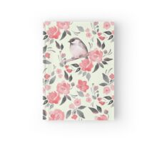 Watercolor floral background with a cute bird 2 Hardcover Journal