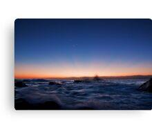 Sunrise Rays Water Rush Canvas Print