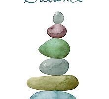 Balance, Stacked Stones Watercolor by JoCzech