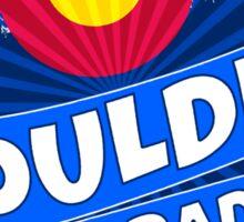 Boulder Colorado flag mountain burst Sticker