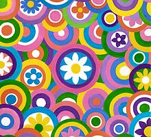 Circles And Flowers - Brush And Gouache by RainbowArt