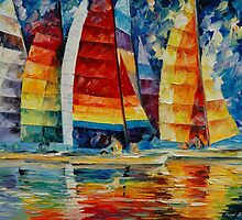 SEA REGATTA - original oil painting on canvas by Leonid Afremov by Leonid  Afremov