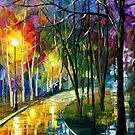 NIGHT RAIN - original oil painting on canvas by Leonid Afremov by Leonid  Afremov