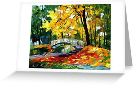 Fall BRIDGE - original oil painting on canvas by Leonid Afremov by Leonid  Afremov