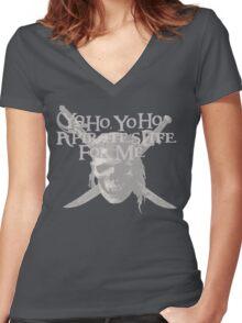 Yo Ho, Yo Ho A Pirate's Life for Me Women's Fitted V-Neck T-Shirt