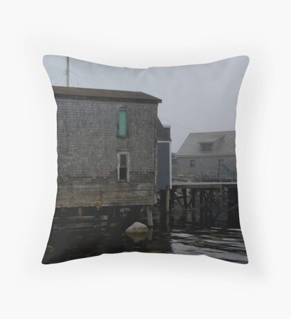 Old Fishing Building Throw Pillow