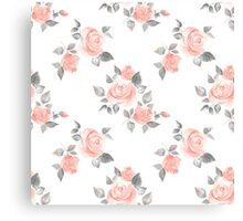 Beautiful roses. Hand-drawn watercolor floral pattern Canvas Print