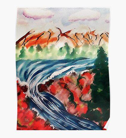 Spring Creek waterfalls, watercolor Poster