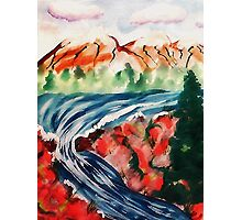 Spring Creek waterfalls, watercolor Photographic Print