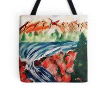 Spring Creek waterfalls, watercolor Tote Bag