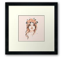 Portrait of a young girl in floral wreath Framed Print