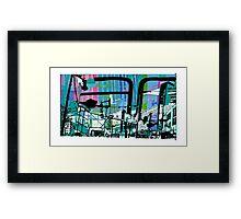 Teal Transport City Framed Print