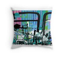 Teal Transport City Throw Pillow