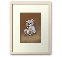 Teddy on toned paper Framed Print
